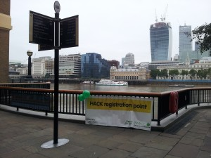 The HACK registration point, near London Bridge.  You can see the new Walkie Talkie Building across the river.